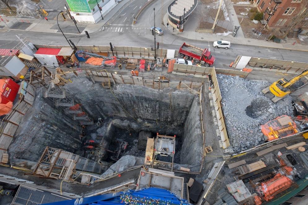 Excavation de la station Édouard-Montpetit - Février 2019