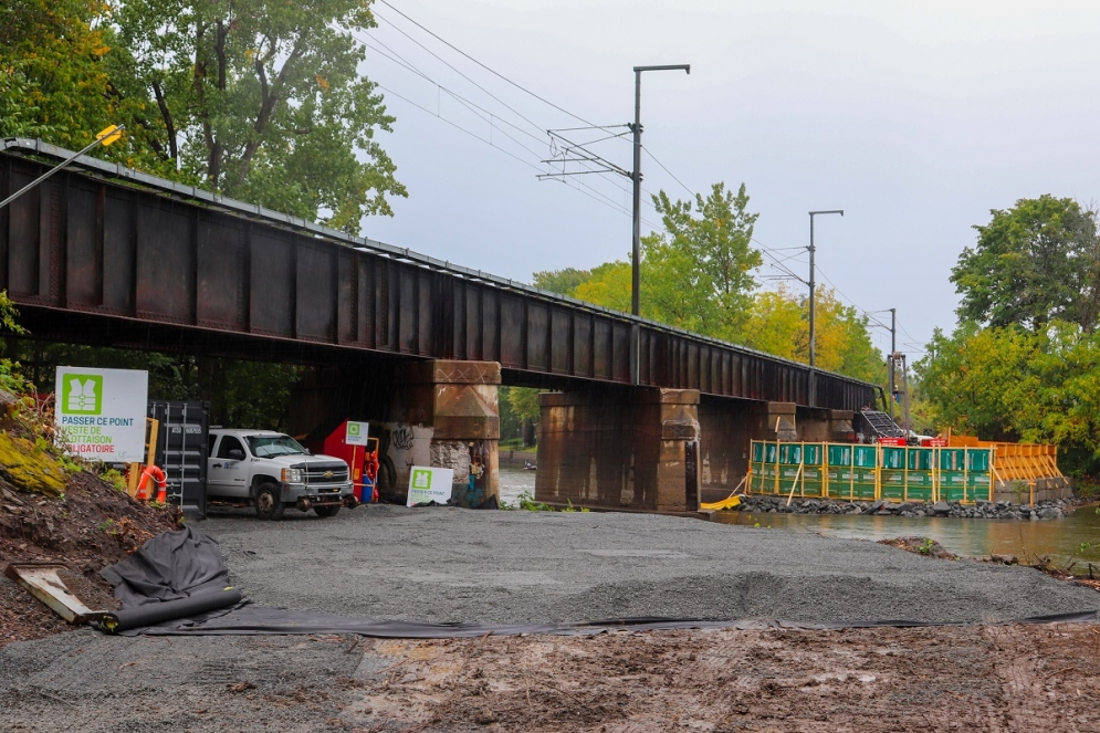 Travaux préparatoires au pont de la Rivière-des-Prairies - Septembre 2019
