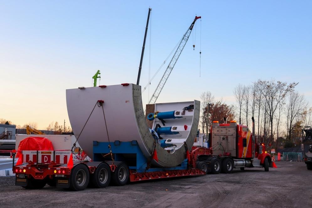 Livraison du tunnelier au Technoparc - Octobre 2019