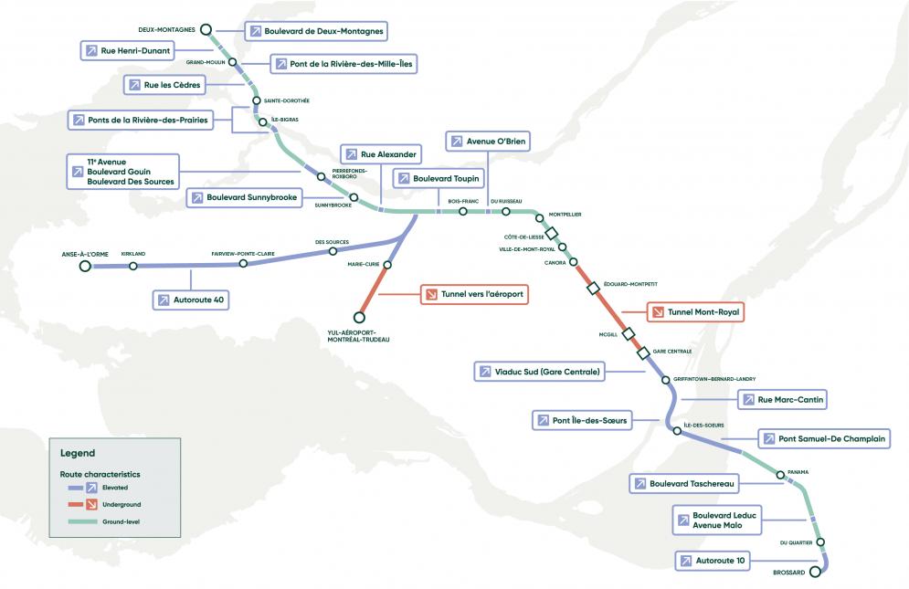 Carte du tracé du REM
