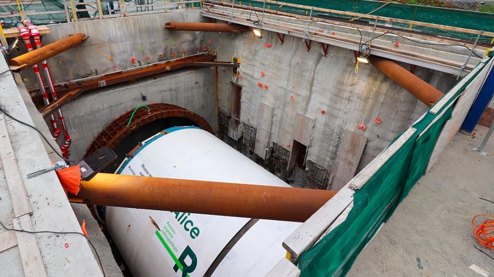 Départ du tunnelier Alice le 15 octobre 2020.