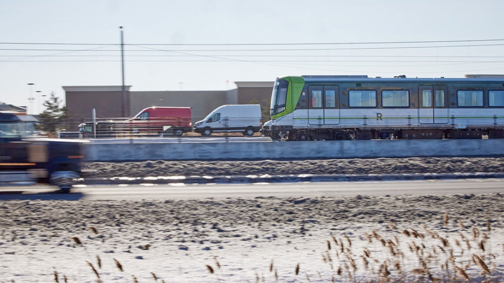 Images of the REM car during the tests on the South Shore